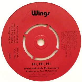 "Wings ‎- Hi, Hi, Hi (7"") (G+/EX+)"